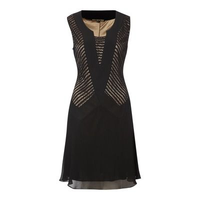 Biba Embroidery Detail Sleeveless Dress, Black