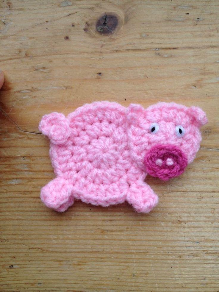Hand Crochet Pig Applique Embellish Motif in Other Crochet ...