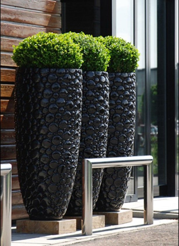 Tall Pots For Outdoor Plants Part - 21: Large 380 Dia Round Black Indoor Outdoor Planter Home Garden Plant Pot Box