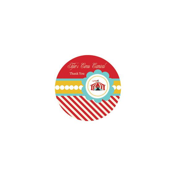 Carnival Party Favors and Stickers - Circus Party Supplies -  Carnival Party Decorations - Round - set of 12 favor stickers on Etsy, $9.00