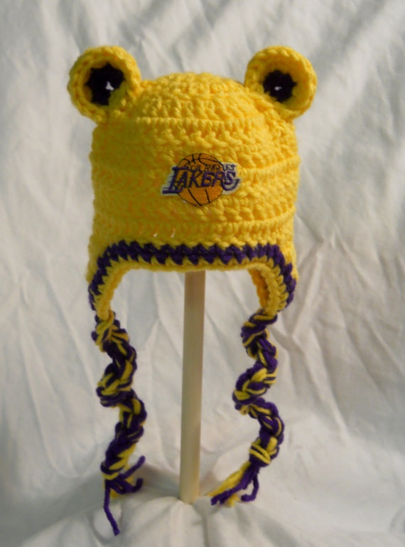 Los Angeles Lakers Basketball Baby Hat with Ears Ear by CDBSTUDIO, $19.99
