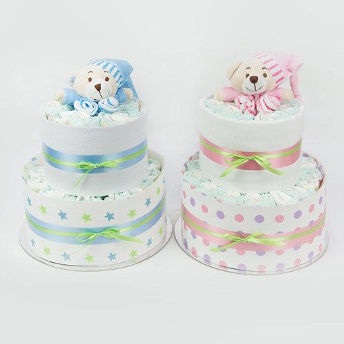 The Basics Range Nappy Cake in Blue or Pink