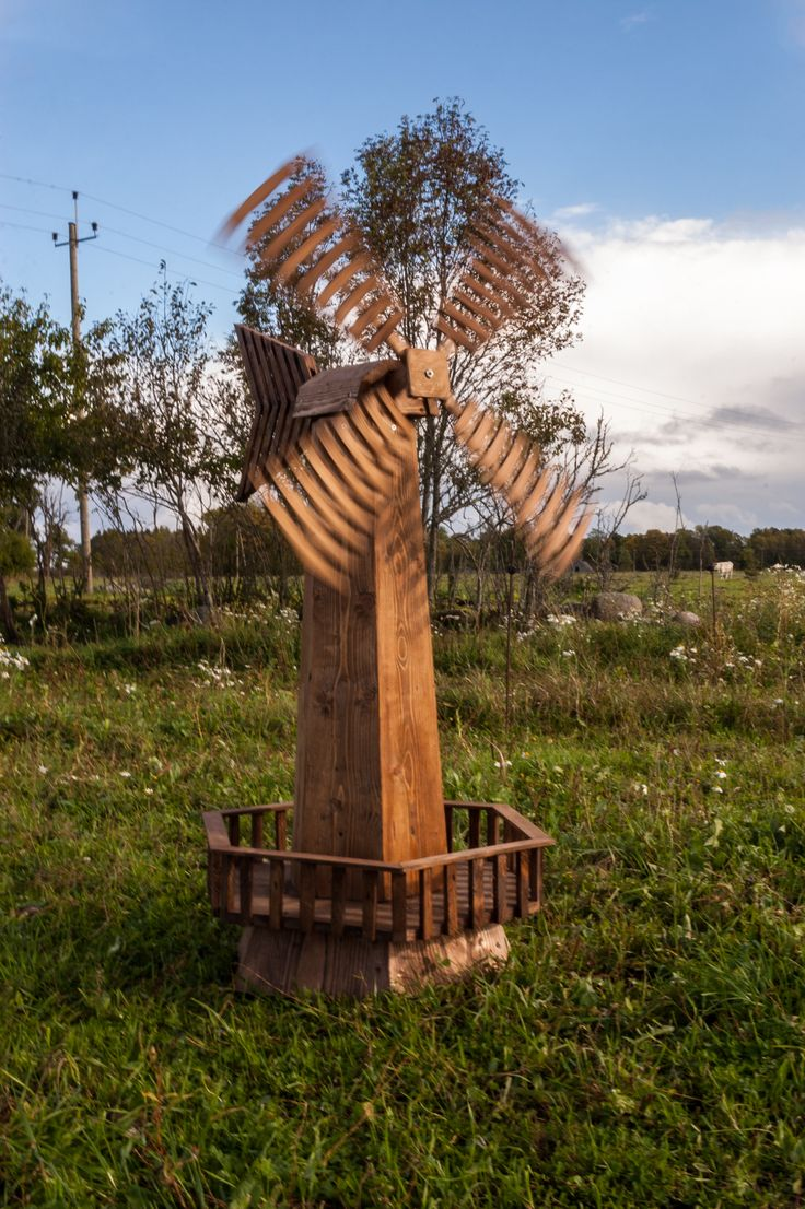 Wooden garden windmill