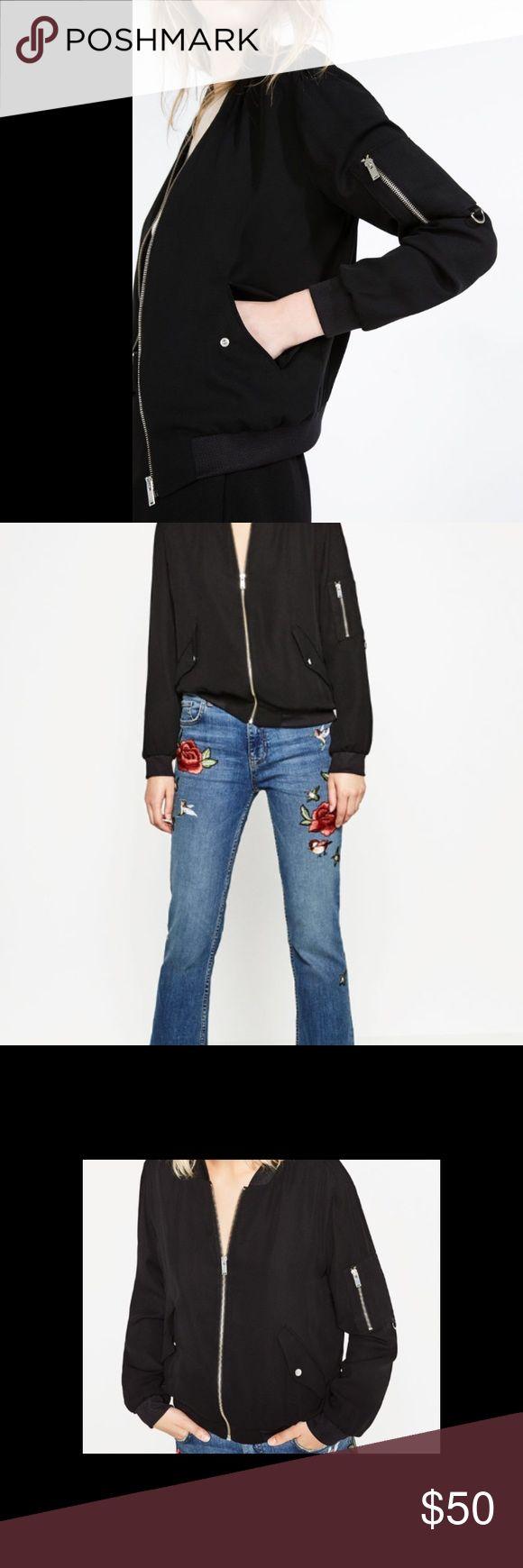 Zara Bomber Jacket Black flows Zara Bomber Jacket- worn only once! Perfect condition and great flowy fabric Zara Jackets & Coats