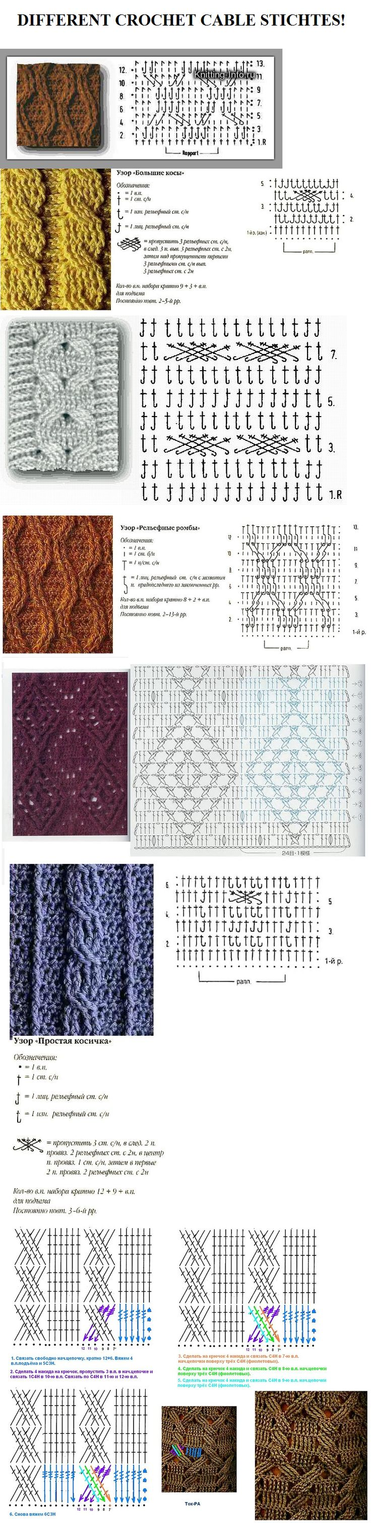 Different crochet cable stitches! - GORGEOUS!!! A