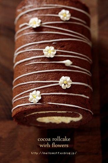 お花のココア・ロールケーキ : + mellow-stuff +