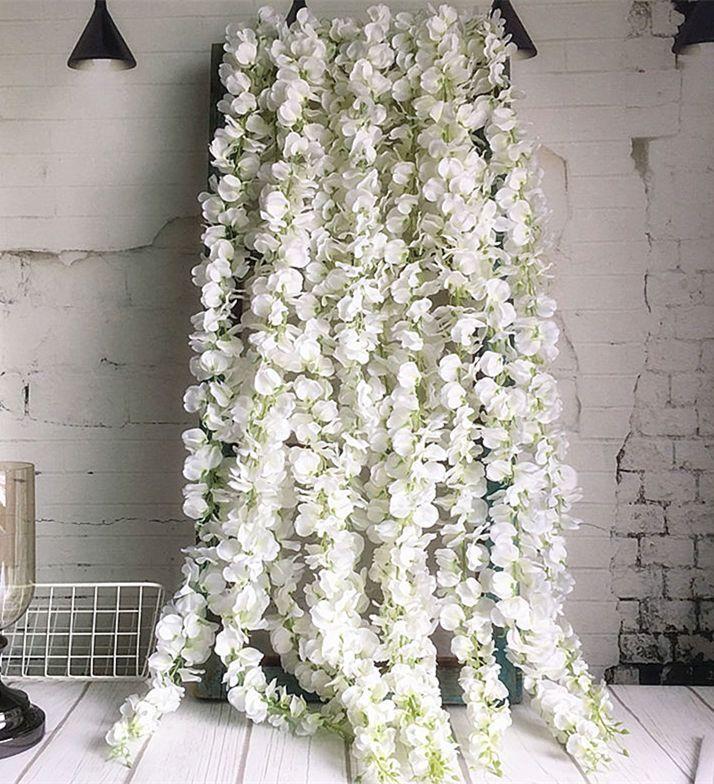 120cm Long Artificial Wisteria Flower Vine Silk Hydrangea Rattan Diy Wedding Birthday Party Decoration Wall Back Silk Hydrangeas Wedding Flowers Wall Backdrops