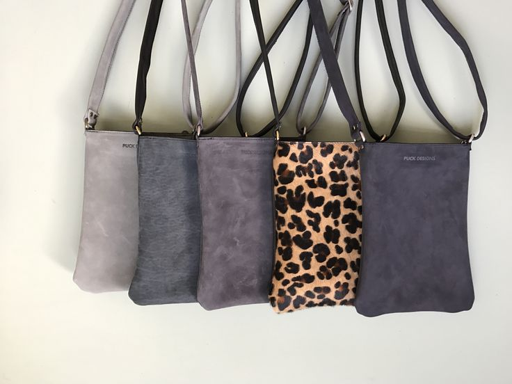 Leather little bag. Leopard, Gray, Green & Blue.