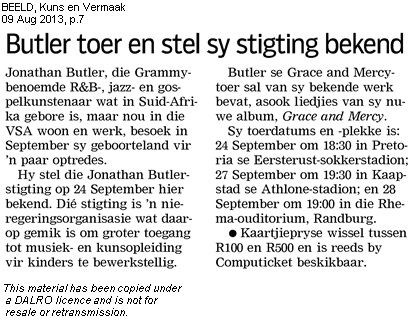 #JonathanButler #Beeld Newspaper 9 August