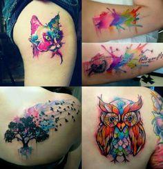 #inked #watercolor #cat #owl #tattoo #tatuagem #alineymarques