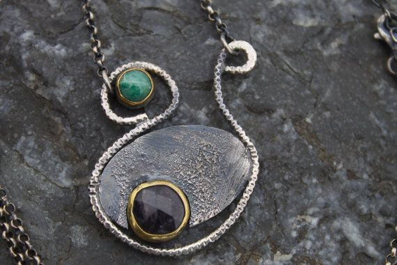 Sale for Christmas Silver Necklace Green Agate by TherapyStonesOne