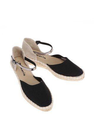 Tamaris - Béžovo-černé sandály na klínku - 1