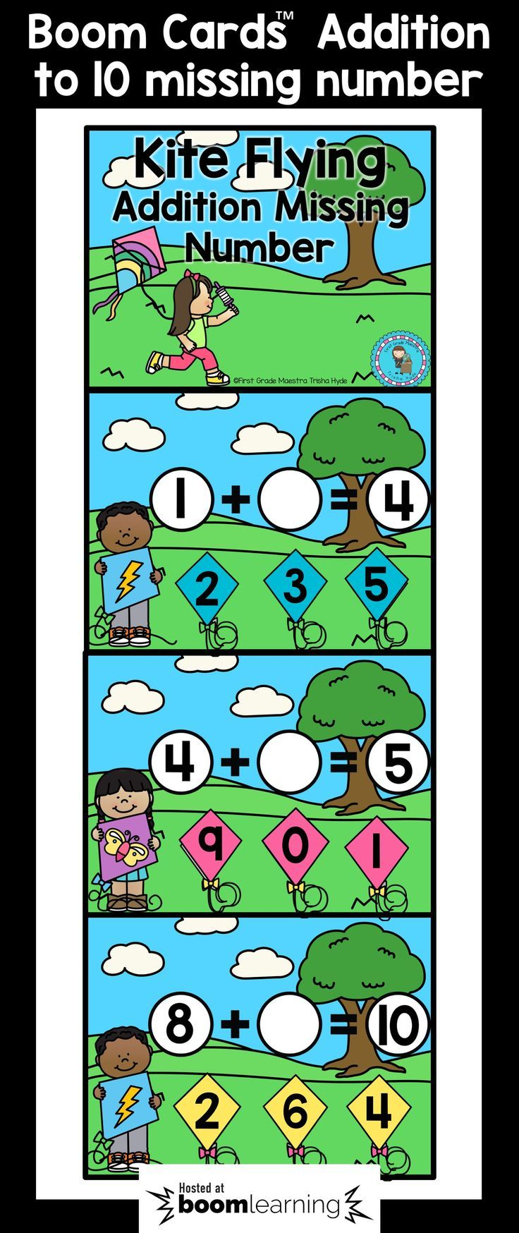 These Addition to 10 Missing Number BOOM cards are the perfect NO PREP Digital Task Cards. Students will demonstrate their understanding addition by determining the missing number in an addition sentence. There are 65 Digital Task Cards. CLICK VISIT to see more about Boom Cards and to see a sample.