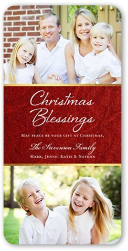 Loving Blessings Religious Christmas Card, Rounded Corners, Red