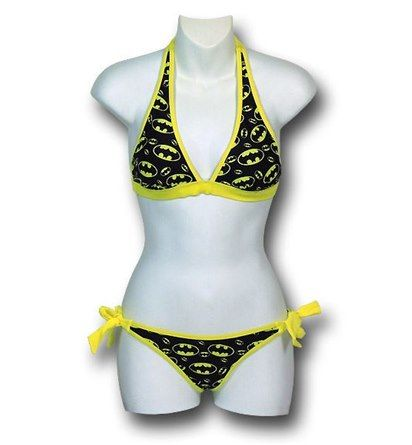 Forged in Bat symbols of 80% nylon and 20% spandex(100% polyester lining) comes the Batgirl Symbols Bikini With Ties! Sure, it says Batgirl but more often than not Batman and Batgirl share the same symbol. Perhaps they do that out of brand recognition? The Batgirl Symbols Bikini With Ties is a fantastic swimsuit covered in Bat symbols and featuring slightly over-sized yellow ties. Fancy! Now when you see the Bat Signal, you can just consider it a cat-call while wearing the Batgirl Symbols…