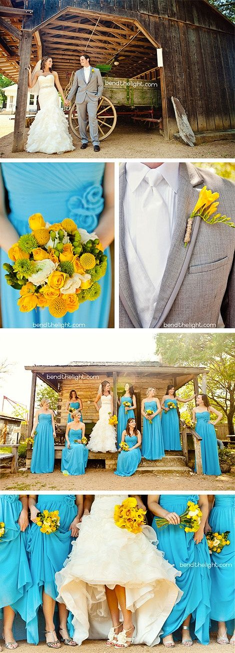 Bright blue and yellow wedding for Spring wedding bridesmaid dress colors