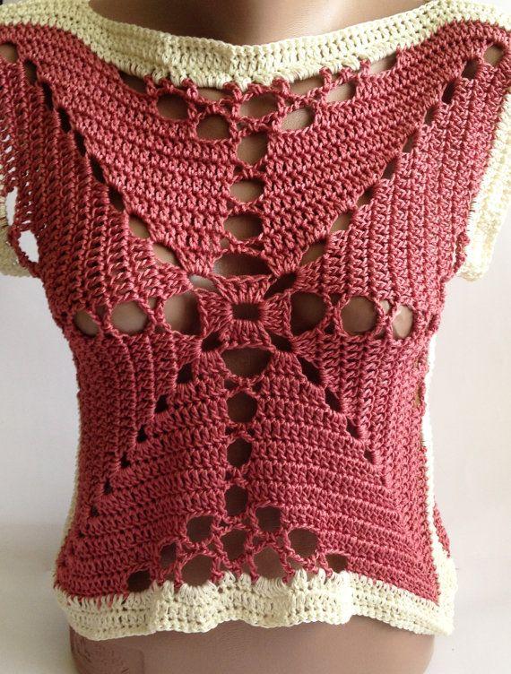 Crochet lace vest/ Crochet crop top/ Boho crochet by ElenaVorobey