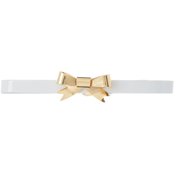 Rodarte White Skinny Patent Leather Waist Belt with Small Gold Bow... ($485) ❤ liked on Polyvore featuring accessories, belts, white, bow belts, rodarte, white belt, gold bow belt and white bow belt
