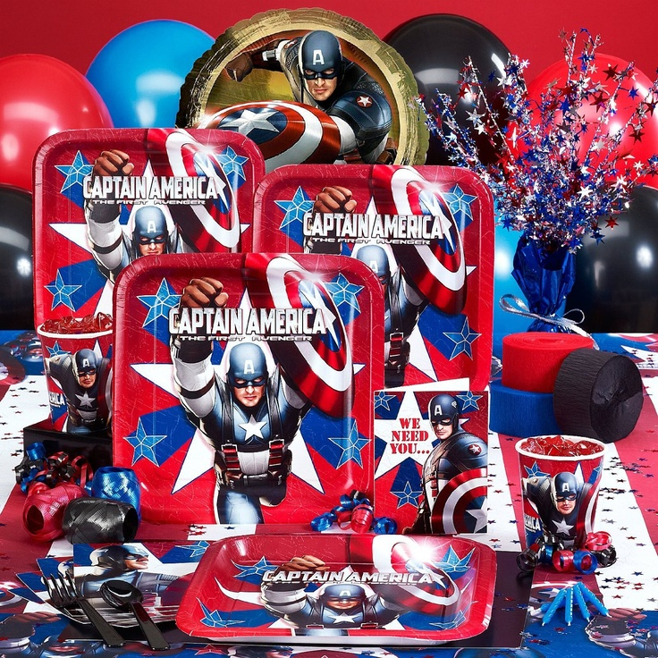 captain america birthday party set birthday party theme pinterest party supplies captain. Black Bedroom Furniture Sets. Home Design Ideas