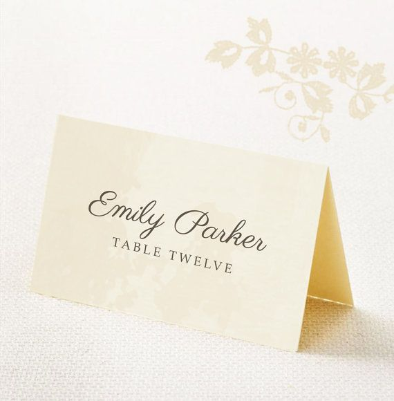 Download, Customize & Print  Customize with your own names and colors and print your own folded or flat place cards on your own computer or an online printing service, with this easy-to-use template. The matching Printable Wedding Invitation, RSVP Card & Wedding Reception Card can be found here: https://www.etsy.com/listing/254121919/vintage-postcard-wedding-invitation-rsvp?ref=shop_home_active_1  ....................... ITEM DETAILS ........................