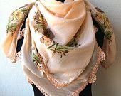 Peach Cotton Scarf With Crochet Beaded Edging Soft Peach Scarf  Woman Spring Scarf  Floral Ethnic Turkish Scarf Mother's Day Valentine's Day