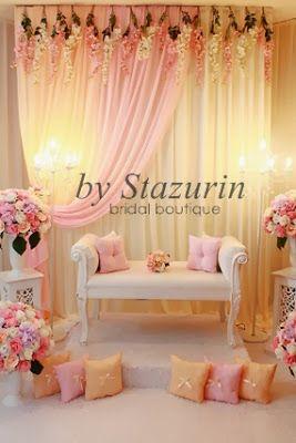 Mini Pelamin Tirai Pelamin Tunang,Pakej Perkahwinan,Busana Pengantin,Buaian Berendoi Warna Pastel: Dekorasi Pelamin Nikah {PS}