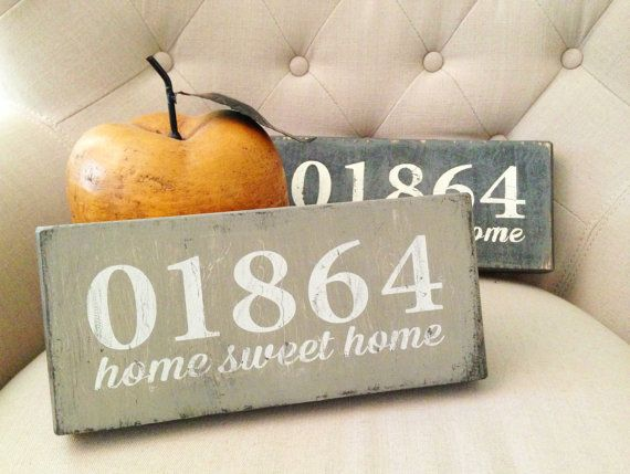 Handpainted Home Sweet Home Wooden Sign Zip Code by luckyblueshop