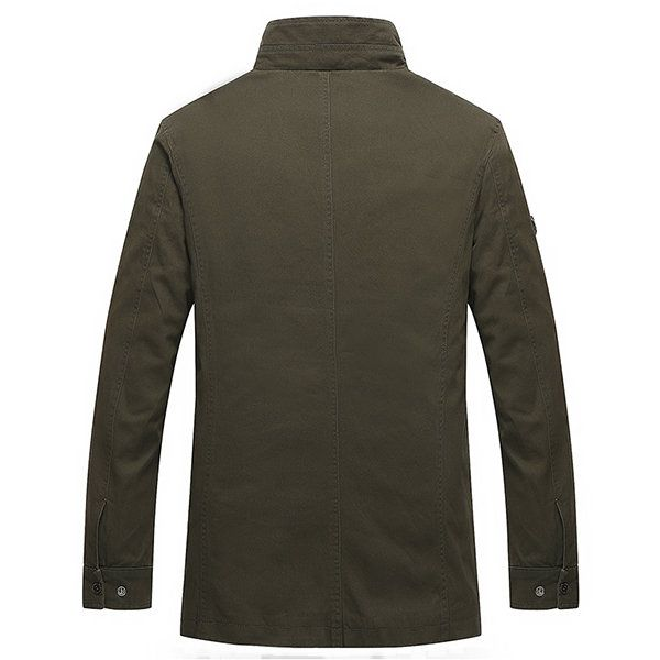 Cotton Washed Mid Long Plus Size Military Trench Coat Mutil Pockets Jacket for Men