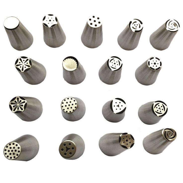 Tulip facemile banyak gaya rusia stainless steel icing piping nozel pastry dekorasi tip fondant cupcake kue dekorator