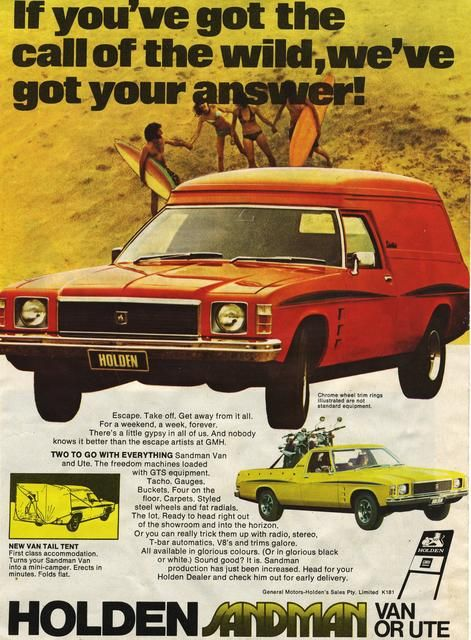 1974/76 Holden HJ/HX Sandman Panelvan. One vehicle epitomised the 1970s to Australians more than any other and that was Holden's Sandman. The Sandman will forever be associated with the thriving surf culture of the period and remains a cultural icon today. The Sandman package comprised the GTS dash, with full instrumentation, bucket seats, GTS stripes and Sandman graphics, plus V8 drivetrain (either in 253 or 308) that transformed the panel van into a stylish, high performance marketing…