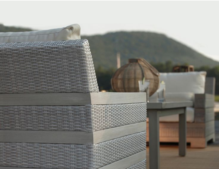 The new Sierra Summer Classics outdoor furniture collection shown with Club Aluminum coffee table. This design is bold and beautiful finished in our Oyster resin.