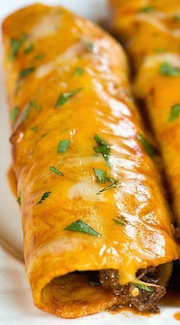 Delicious, cheesy, beef enchiladas