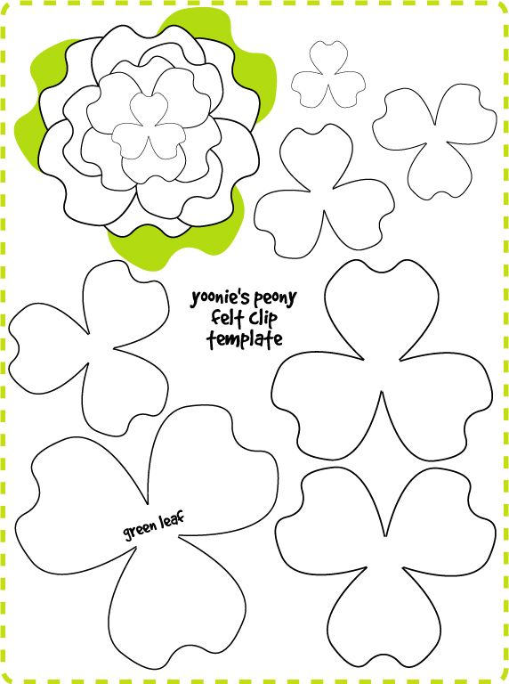 For E to do - Printable template for flower felt clips... don't use all the petals though.  It makes it a little too big for my taste!