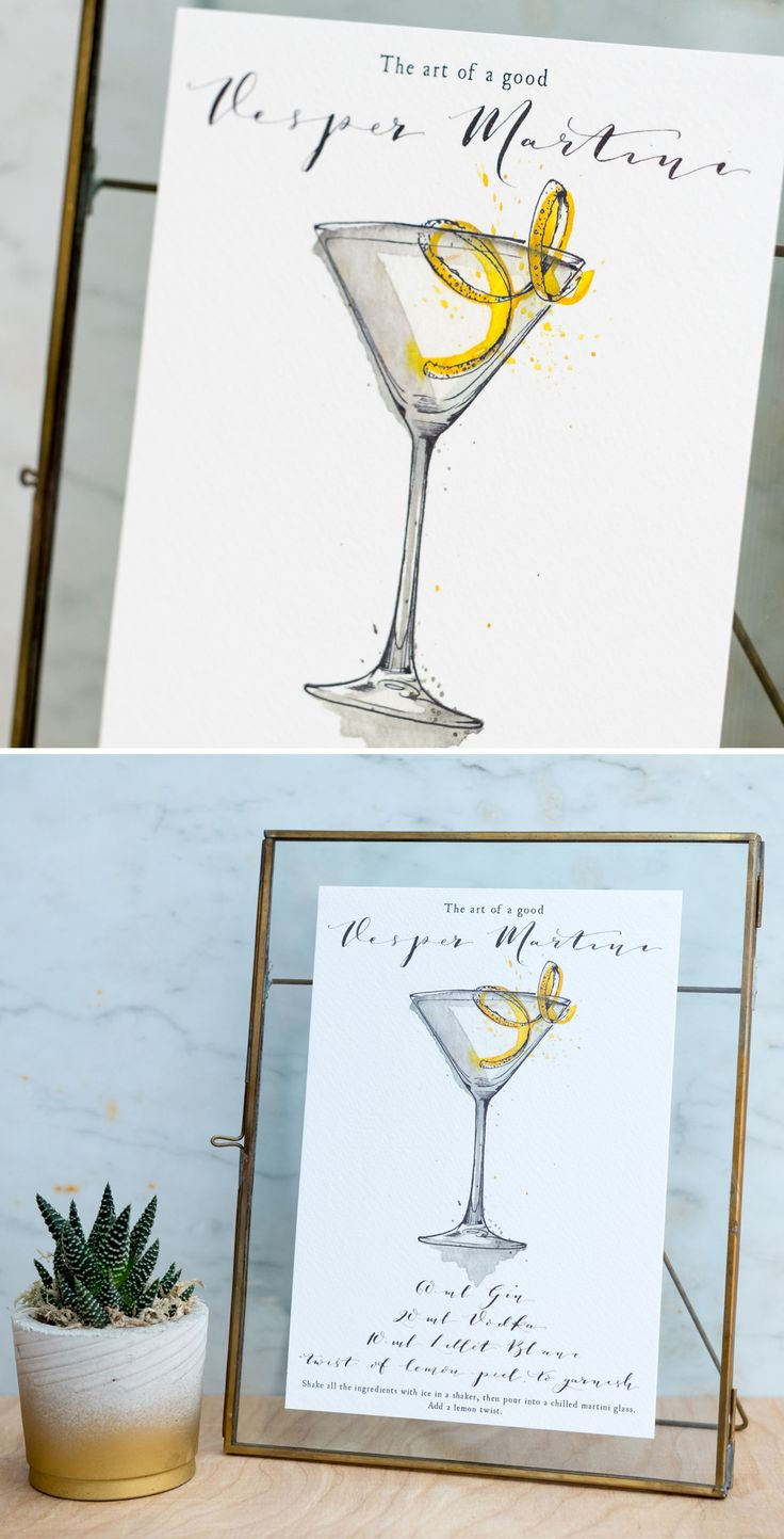 The art of a good Vesper Martini. Hand painted watercolour Cocktail print, part of our series of cocktail prints