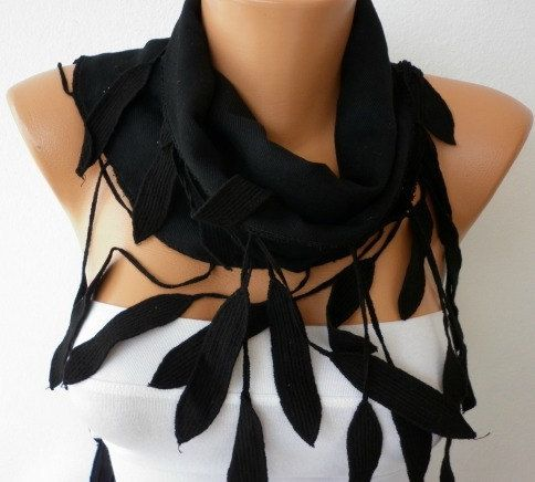 Women Pashmina  Scarf   Cotton Scarf   Cowl with Lace  by fatwoman, $19.00