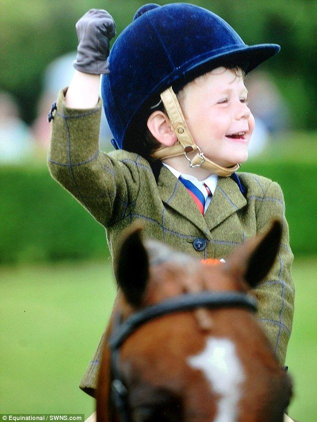 Celebrations: Harry Edwards-Brady qualifies for the Horse of the Year show. Just champion! Harry, 3, rides his way into history: Youngster qualifies for prestigious show despite only learning to ride this year!