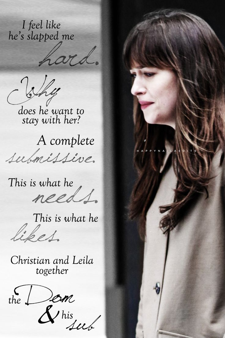 Christian & Leila together - the Dom and his sub.  Dakota Johnson Fifty Shades Darker