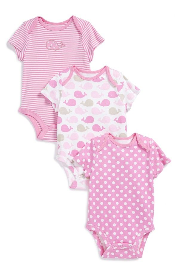 'Whale' Cotton Bodysuits (3-Pack) (Baby Girls)