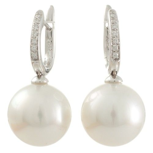 High lustre White South Sea pearl, white diamond, and white gold earrings. View our collection of pearl jewellery at www.rutherford.com.au
