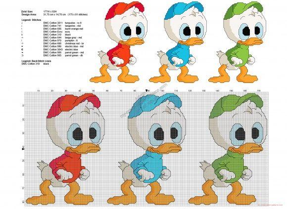 Qui Quo Qua DuckTales schema punto croce gratis 175x81