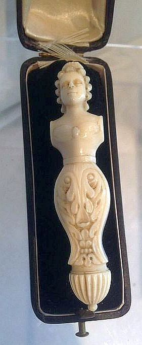 Antique Dieppe Figural Carved Needle Case - French - Circa 1830.