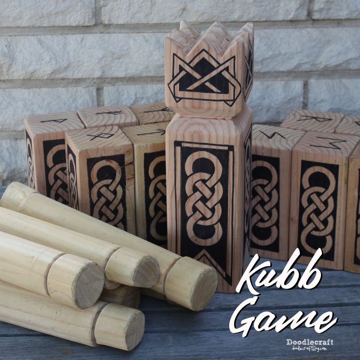 kubb lawn game | Doodlecraft: Viking Chess Kubb Game!