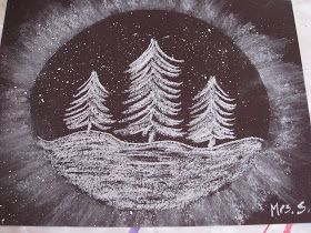"""Snowy Trees"" Art Project (Re-post from a couple years ago)  Materials needed: black paper ( mine is 9x12""), oval template, white chalk, t..."