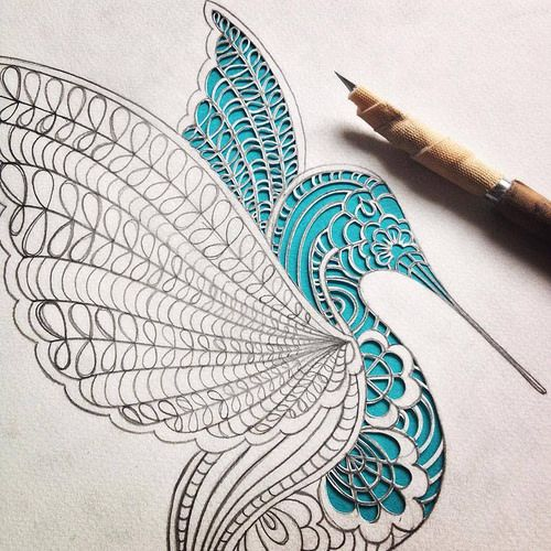 Cut Paper Hummingbird - Detail | Created by Charlotte Trimm … | Flickr
