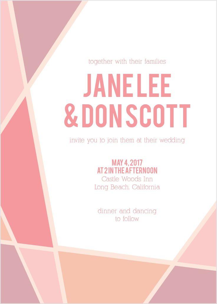 The Geometric Frame Wedding Invitation