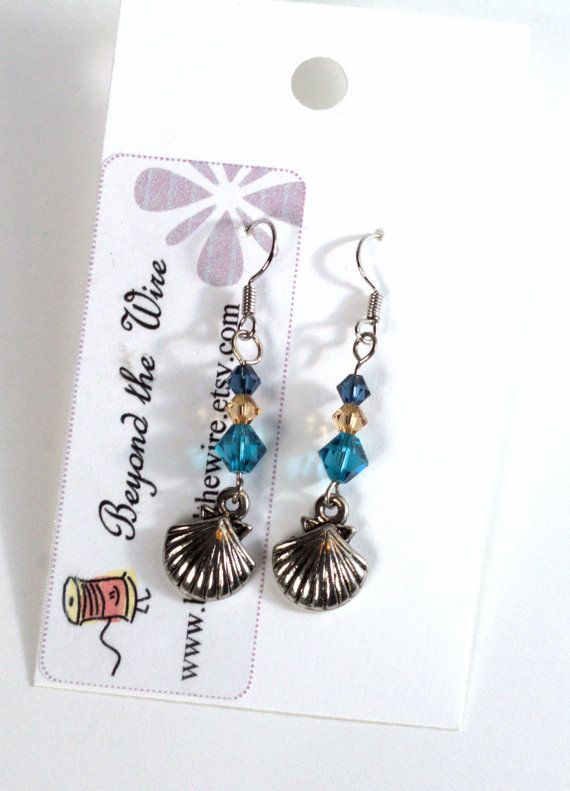 Sea Shell Earrings/ Swarovski Crystals/ by BeyondtheWire on Etsy
