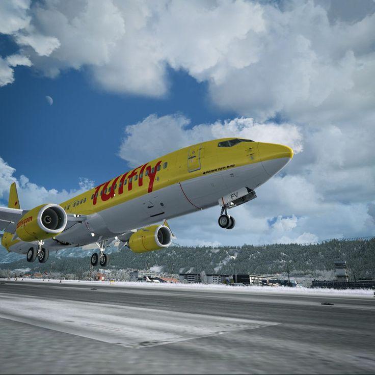 TUIfly landing in Innsbruck (LOWI)  737 - PMDG Innsbruck - ORBX