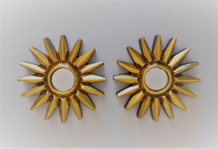 "6""H, Mirror Gold, Gold Leaf Sunburst Mirrors, Gold Sun Mirrors, Gold Sunburst Mirrors, Round Mirrors, Gold Leaf Sun Mirrors, Wall Mirrors by GoldLeafGirl on Etsy"