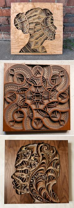 New Laser-Cut Wood Relief Sculptures by Gabriel Schama (first one would be cool as a bookcase)