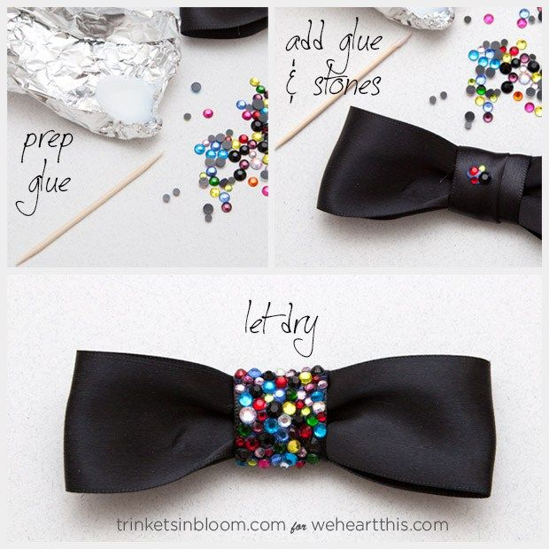 Make the next festivity a black tie affair by combining a chain, rhinestones and a bow to make this chic DIY Jewelry project – a Rhinestone Bow Necklace!